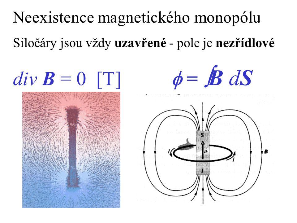 div B = 0 [T] f = B dS Neexistence magnetického monopólu